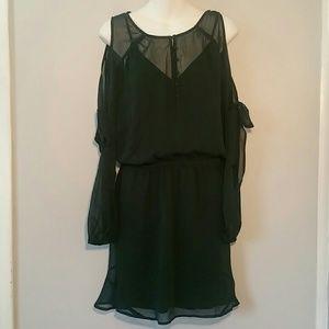 Express  Dress Chiffon Cold Shoulder  Green Sz L